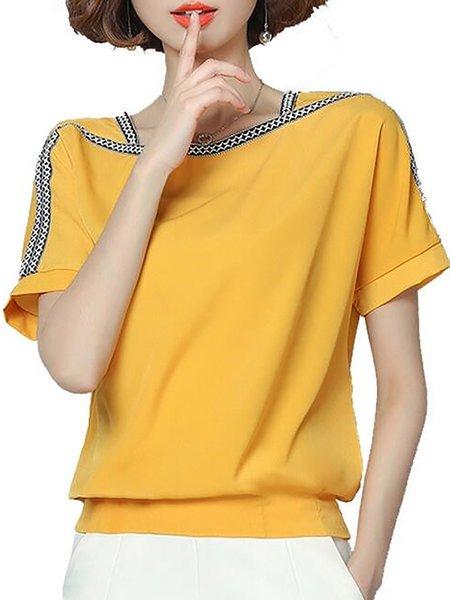 Crew Neck Casual Nylon Chiffon T-Shirt