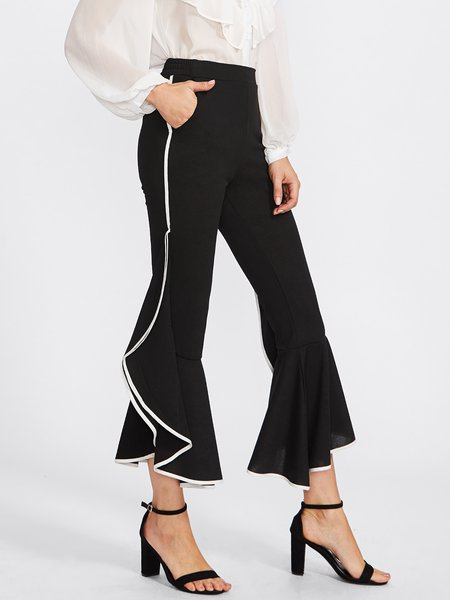 Black Paneled Casual Flared Ruffled Pant