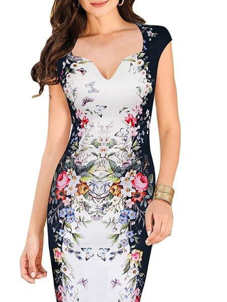 Women Vintage Dress V neck Bodycon Daily Short Sleeve Paneled Dress