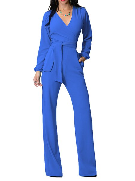 V Neck Casual High-rise Jumpsuit