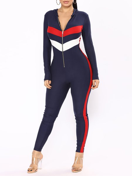 Stripes Long Sleeve Hoodie Jumpsuit