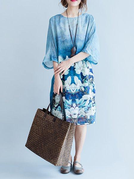 Half Sleeve A-line Print Dresses