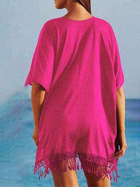 H-line Paneled Elegant Short Sleeve Fringed Dress