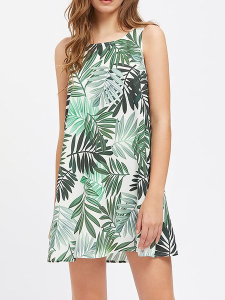 Painted Crew Neck Floral Sleeveless A-line Dress
