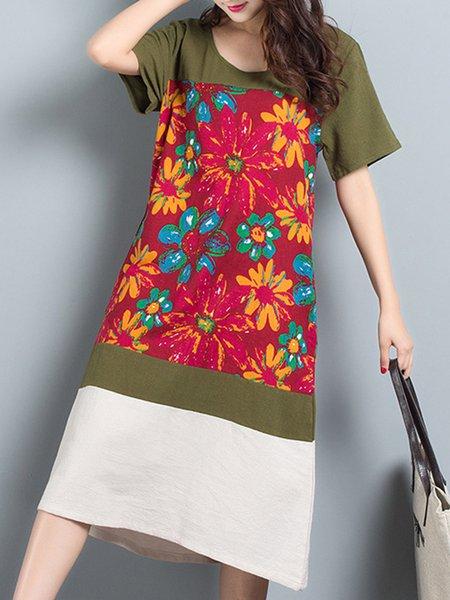 A-line Crew Neck Floral Linen Paneled Dress