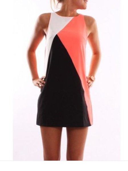 Shift Sleeveless Color-blocked Casual Dresses