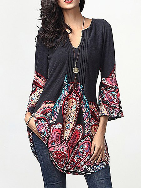 3/4 Sleeve V Neck Floral Ruched Printed T-Shirt