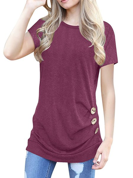 Short Sleeve Casual Buttoned Crew Neck T-Shirt