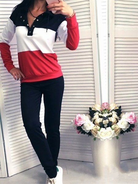 Long Sleeve Casual Cotton Buttoned Hoodie Women's Co-ord