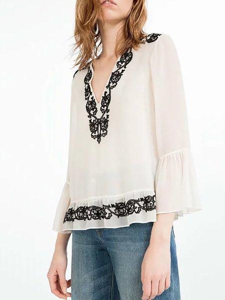 V Neck 3/4 Sleeve Embroidered T-Shirt