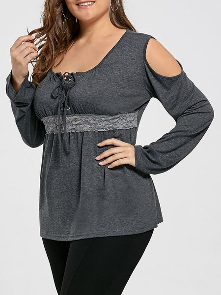 Cold Shoulder Paneled Casual T-Shirt