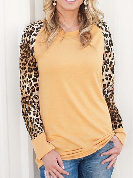 Crew Neck Long Sleeve Printed Leopard Print T-Shirt