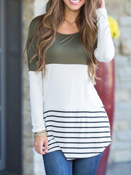 Stripes Paneled Cotton T-Shirt