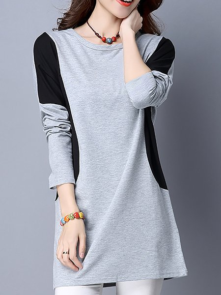 Cotton Paneled Crew Neck Tunic Top