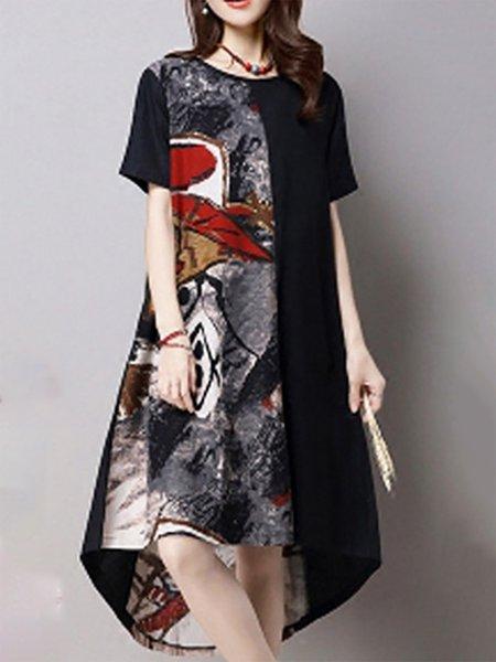Linen Casual Short sleeve Print Dresses