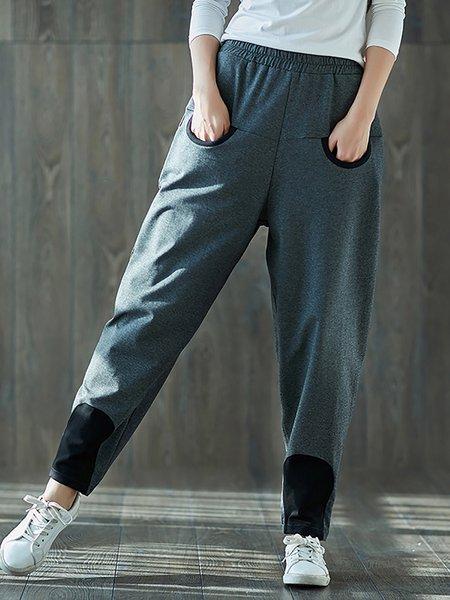 Casual Cotton Paneled Pants