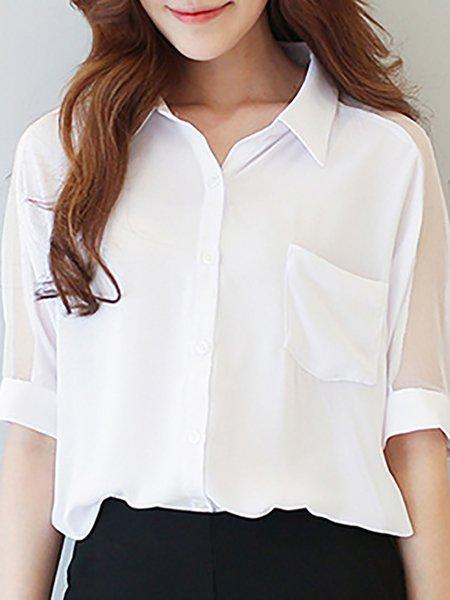 Chiffon Paneled Shirt Collar T-Shirt