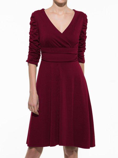 Ruched V-Neck Half sleeve Casual Dresses
