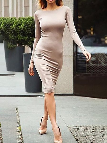 Bodycon Elegant Long Sleeve Casual Dresses
