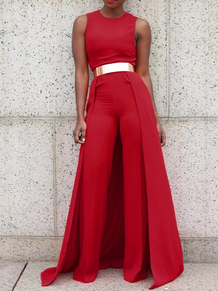 Red Paneled Sleeveless Jumpsuit