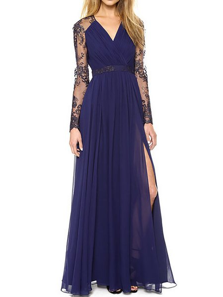Navy Blue Women Prom Dress Evening Long Sleeve Cotton Dress