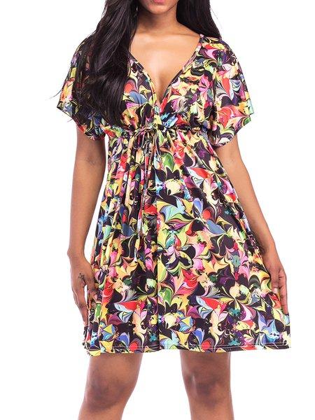 A-line  V Neck Floral Print Dresses