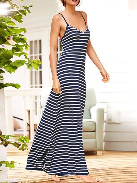 Spaghetti Stripes Casual Dresses