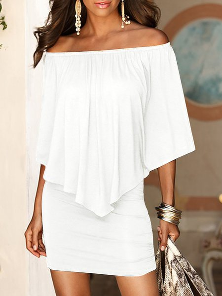 Women Elegant Dress Off Shoulder Going out Half Sleeve Cotton Dress