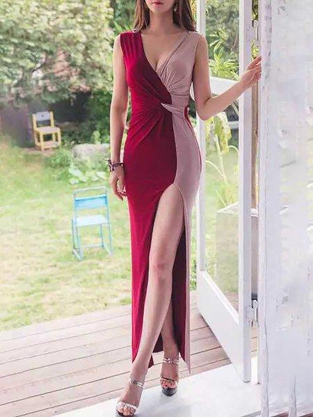 Sleeveless  V neck Prom Dresses