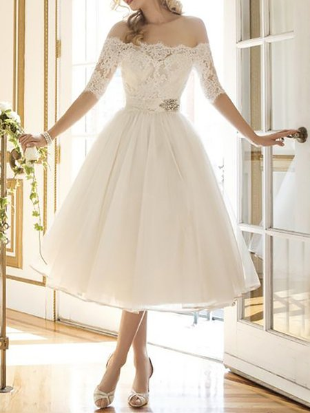 White Women Prom Dress Off Shoulder Swing Half Sleeve Paneled Dress