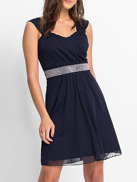 Swing Short sleeve Paneled Casual Dresses