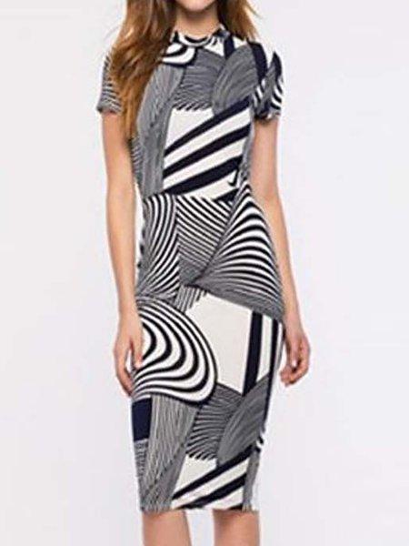 Black Women Print Dress Crew Neck Bodycon Going out Elegant Abstract Dress