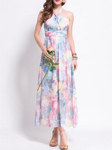 Floral Sleeveless Chiffon Print Boho Dresses