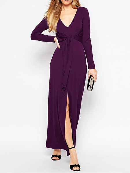 Long Sleeve Paneled Drawcord  Casual Dresses