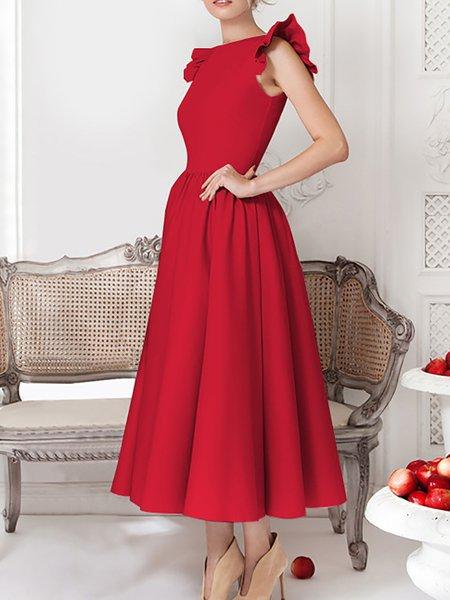 Ruffled Short sleeve Swing Elegent Dresses