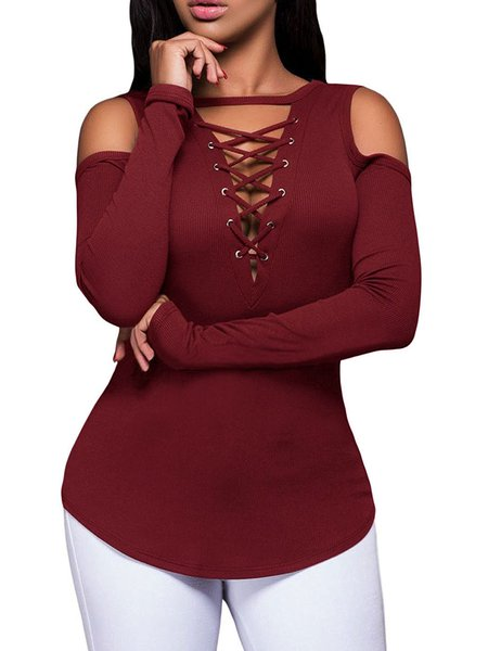 Cold Shoulder Cotton V neck T-Shirt