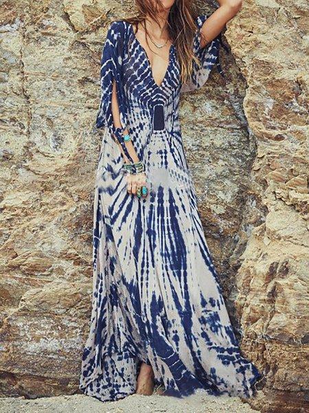 Blue Women Print Dress V neck Swing Daytime Balloon Sleeve Paneled Dress