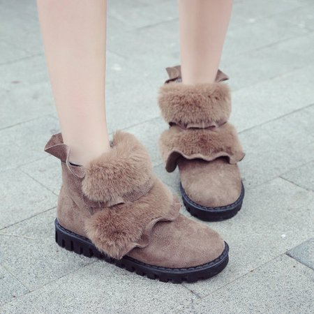 Flurry Ruffles Slip On Suede Casual Boots