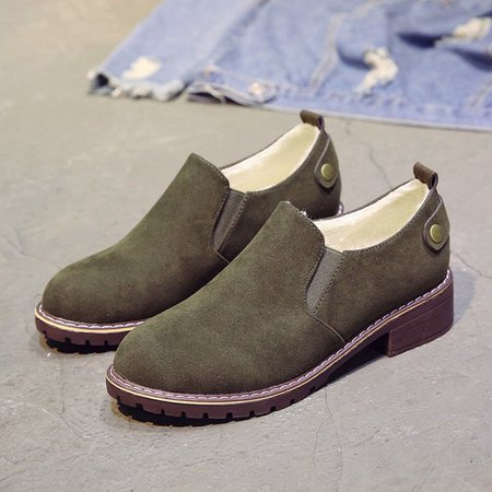 Fur Lined Suede Casual Slip On Boots