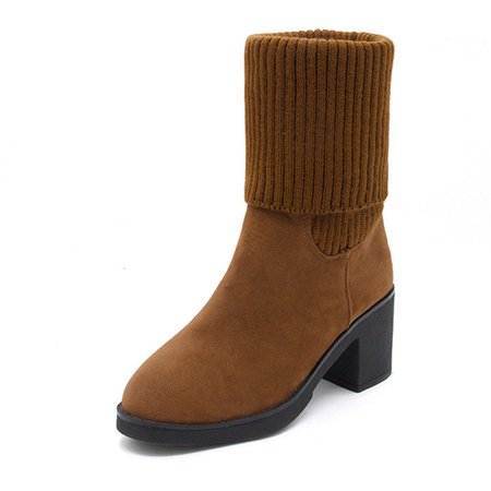 Convertible Knitted Panel Chunky Heel Suede Boots