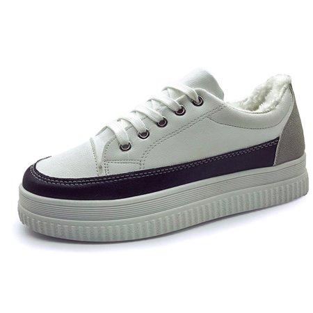 Color Block Fur Lining PU Platform Sneakers