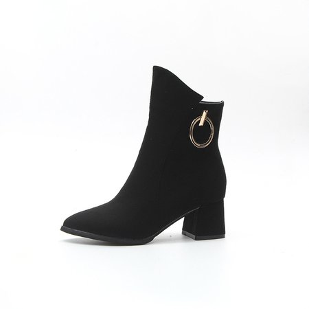 Metal Ring Chunky Heel Zipper Boots