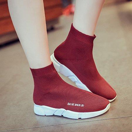 Elastic Cloth Platform Casual Slip On Boots
