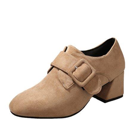 Chunky Heel Buckle Suede Boots