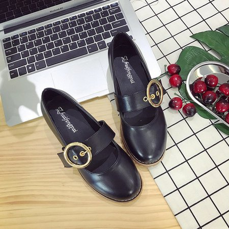 Low Heel PU Buckle Strap Oxfords