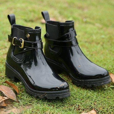 Casual PVC Buckle Rain Boots