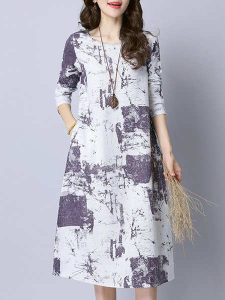 Floral Cotton-blend Long Sleeve Crew Neck Dress