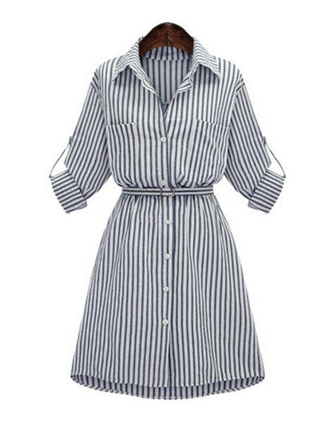 Shirt Collar Casual Half Sleeve Polyester Dress