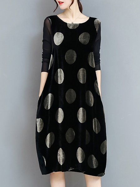 Sweet Polka Dots Long Sleeve Dress