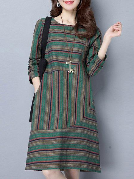 Stripes Casual Long Sleeve Dress